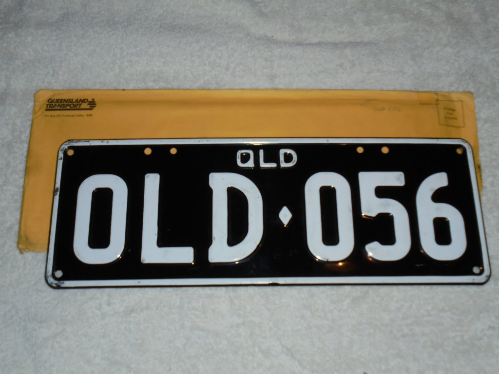 New Genuine QLD Black & White Number Plates -SUIT Any 1956 Vehicle